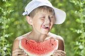 Boy and watermelon — Stock Photo