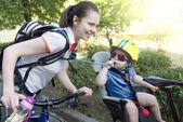 Young family bike trip. — Stock Photo