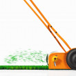 A side view of a push lawn mower at work — Stock Photo