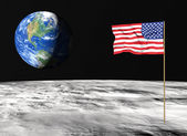 American flag on the moon — Stock Photo