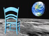 Chair on the moon — 图库照片