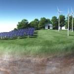ökologische Generatoren auf einem Gelände — Stockfoto
