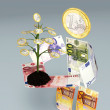 Euro banknotes character brings one small euro tree — Stock Photo #31264293