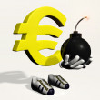 Euro symbol character with a bomb in his hands — Stock Photo
