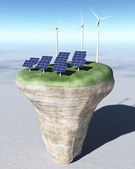 Ecological generators on top of a conical terrain — Stock Photo
