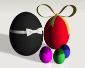 Colored easter eggs family — Stock Photo