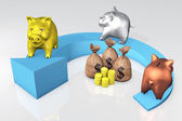 Piggies bank on the arrow — Stock Photo