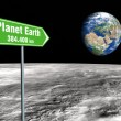 Stock Photo: Signpost on moon
