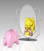Piggy bank is in front of a mirror — Stock Photo