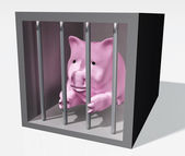 Pink piggy is jailed — Stock Photo