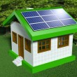 Small house with solar panels — Stock Photo