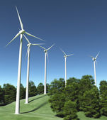 Wind generators on top of a hill — Stock Photo