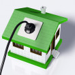 Stock Photo: Small house connected to electric current