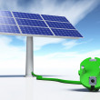 Stock Photo: Solar panel with green plug