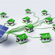 Solar panels supplys the houses — Stock Photo