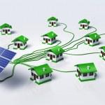 Solar panels supplys the houses — Stock Photo #32842075