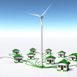 Wind generator supplys the houses — Stock Photo #32842389