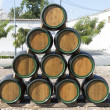 Wooden barrels for wine — Stock Photo
