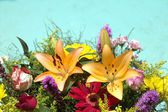 Assorted colorful flowers in a bouquet with space for text — Stock Photo