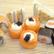 Assortment rolls with salmon — Stockfoto