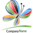 Multicolored butterfly company logo — Vettoriale Stock #12029520