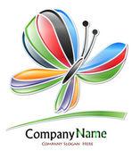Logotipo de la empresa mariposa multicolor — Vector de stock