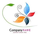 Logotipo de la empresa mariposa coloreada — Vector de stock