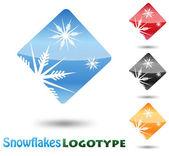 Copo de nieve abstracto logotipo sobre fondo blanco — Vector de stock