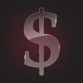 Transparent glass dollar symbol — Stock Vector