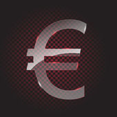 Transparent glass euro symbol — Stock Vector