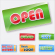 Store signs collection.Open, closed and other signs. — Stock Vector