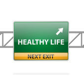 Healthy life concept with road sign showing a change — Stock Vector