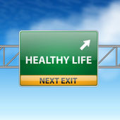 Healthy life concept with road sign showing a change — Vettoriale Stock