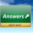 Answers Freeway Exit Sign — Stock Vector