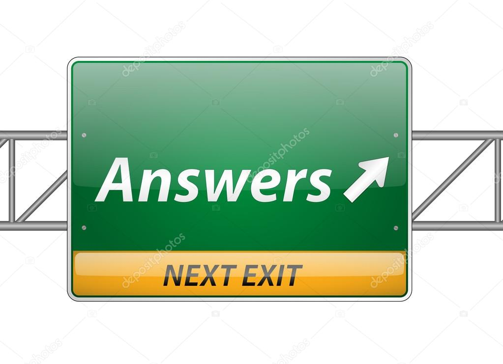 Answers Freeway Exit Sign isolated on a white background  Stock Vector #12667264