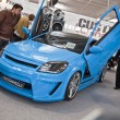 Blue colored Opel Astra at the 4Tuning Fest Auto Show Bucharest, Romania — Stock Photo #13978221