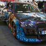 Skoda Octavia Painted at the 4Tuning Fest Auto Show Bucharest, Romania — Stock Photo #13978255