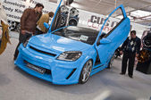 Blue colored Opel Astra at the 4Tuning Fest Auto Show Bucharest, Romania — Stock Photo