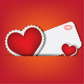 Red hearts design card — Stock Vector