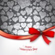 Heart Background with red bow — Vector de stock #17212573