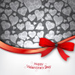 Heart Background with red bow — Vettoriali Stock