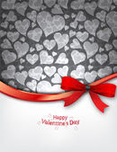 Heart Background with red bow — Vector de stock