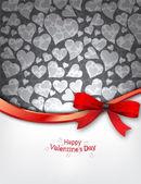 Sfondo cuore con fiocco rosso — Vettoriale Stock