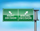 Znak autostrada błyszczący z dobra i zła decyzja — Wektor stockowy