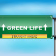 Highway sign with Green Life  text — Stock Vector