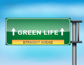 "Highway sign with ""Green Life "" text — Stock Vector"