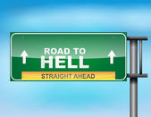 "Highway sign with ""Road to Hell"" text — Stockvektor"