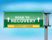 "Highway sign with ""Road to recovery "" text — Stock Vector"