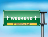 "Highway sign with ""Weekend"" text — Stock Vector"