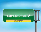 """Highway sign with """"Experience"""" text — Stock Vector"""